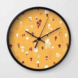 Autumn Mushrooms Mustard Wall Clock