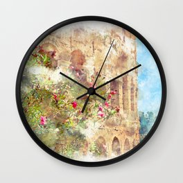 blooming rhododendron on a background of Colosseum Wall Clock