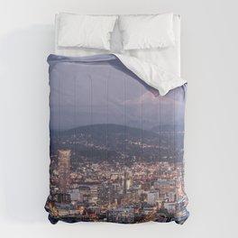Portland Evening Urban Cityscape With Mt Hood Comforters