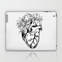 Floral Mexican Heart - black and white Laptop & iPad Skin