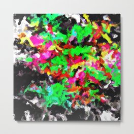 psychedelic splash painting abstract texture in pink green yellow black Metal Print