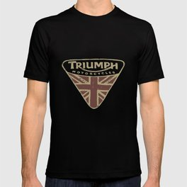 Nwt Lucky Brand Triumph Motorcycle Uk Flag Badge Logo Gray  Motorcylce t-shirts T-shirt