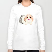 guinea pig Long Sleeve T-shirts featuring Guinea Pig Patterned Guinea Pig by Upcyclepatch