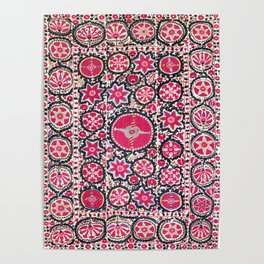 Ura Tube Suzani Northeast Uzbekistan Embroidery Print Poster