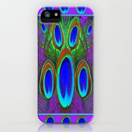 Modern Lilac Patterns Blue Peacock feather Eyes Art iPhone Case