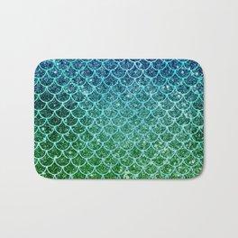 Mermaid Blue & Green Glitter Ombre Scales Bath Mat
