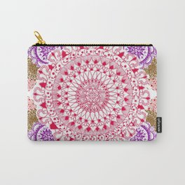 Red, Brown, and Purple Mandala Pattern Carry-All Pouch