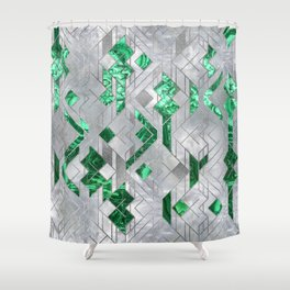 Abstract Geometric Malachite and Mother of pearl Shower Curtain