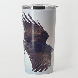 American Crow in flight against the sky Travel Mug