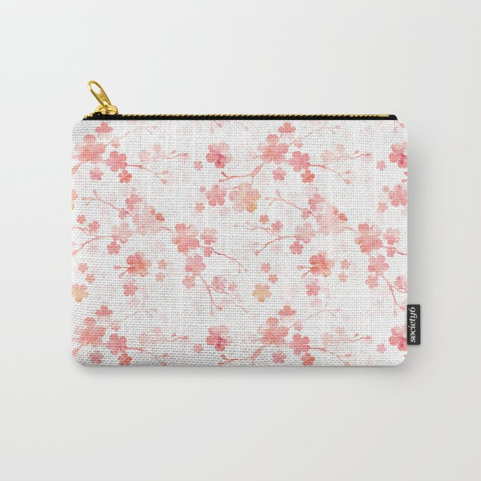 Peach pink Chinese cherry blossom on white Carry-All Pouch