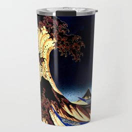 The GREAT Wave Midnight Blue Brown Travel Mug