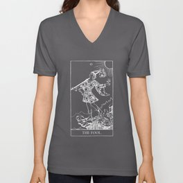 0. The Fool- White Line Tarot Unisex V-Neck