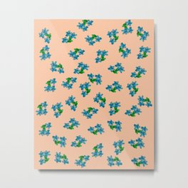 Tiny Blue Flowers on Peach Metal Print
