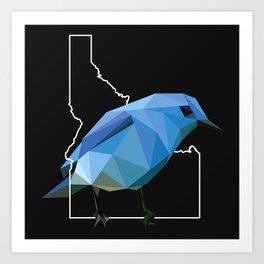 Idaho – Mountain Bluebird (Black) Art Print