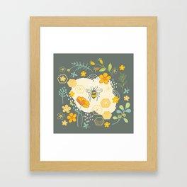 Little Bee and Buttercups Framed Art Print