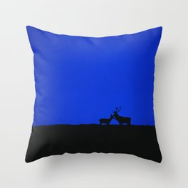 RED DEER ON DAWN SKYLINE Throw Pillow