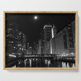 Downtown Chicago Night, Fine Art Black & White Photography Serving Tray