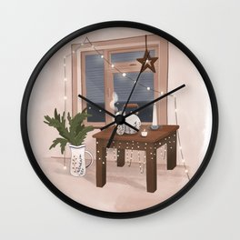 Hygge interior poster. Christmas home Wall Clock