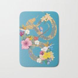 golden snake with flowers Bath Mat