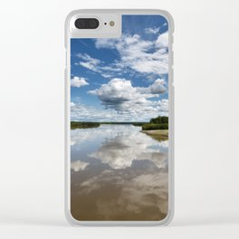 Beautiful clouds over river and reflection in water Clear iPhone Case