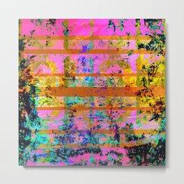 Pink Yellow and Turquoise Grunge Wood Metal Print