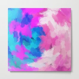 blue and pink painting texture abstract background Metal Print