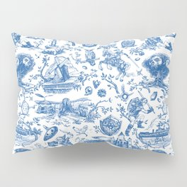 "Zelda ""Hero of Time"" Toile Pattern - Zora's Sapphire Pillow Sham"