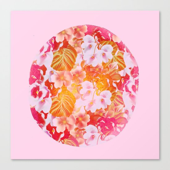 pink floral in a circle Canvas Print