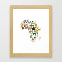 map of Africa: parrot Hyena Rhinoceros Zebra Hippopotamus Crocodile Turtle Elephant Mamba snake Framed Art Print
