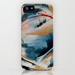 Drift 6: a bold mixed media piece in blues, brown, pink and red iPhone Case