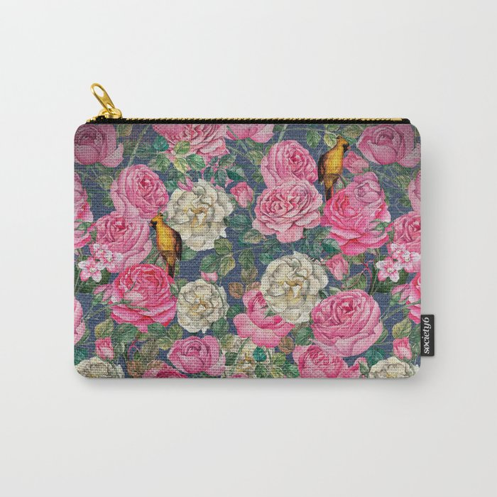 Vintage grunge Floral Rose and Birds Pattern Carry-All Pouch