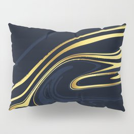 Blue And Gold Marble Pillow Sham