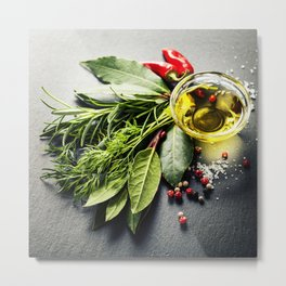 Herbs and spices on slate background Metal Print