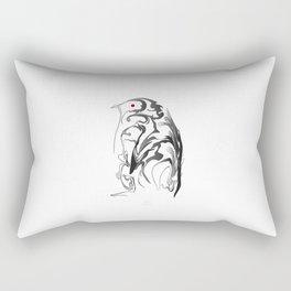Penguin pigeon 1. Black on white background. Rectangular Pillow