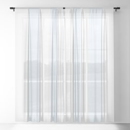 Alice Blue and White Cabana Tent Stripes Sheer Curtain