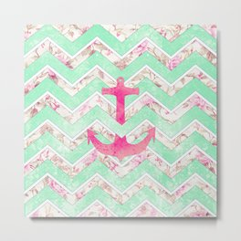 Pink Nautical Anchor Teal Floral Chevron Pattern Metal Print