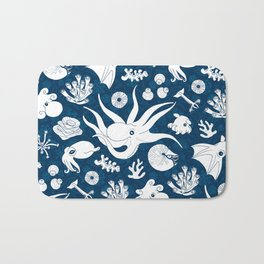 Cephalopods: Background Blue Bath Mat