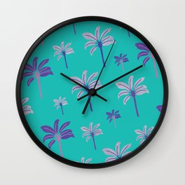 Colorful beach palm trees Wall Clock