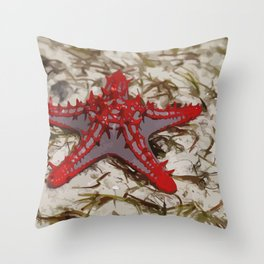 Ocean Red Starfish Illustration Throw Pillow