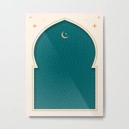 Mihrab - Minimal Teal Metal Print