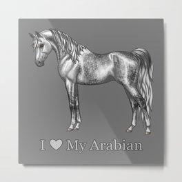 Dapple Gray Horse I Love My Arabian Metal Print