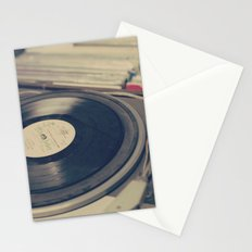 Vintage Turntable and Records  Stationery Cards