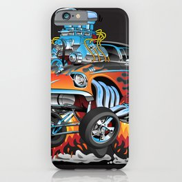 Classic hotrod 57 gasser drag racing muscle car cartoon iPhone Case