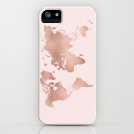 Rose Gold World Map iPhone Case