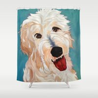 floyd Shower Curtains featuring Our Dog Floyd by Barking Dog Creations Studio