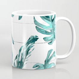 Turquoise Palm Leaves on White Wood Coffee Mug