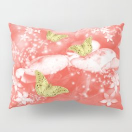 Gold butterflies in magical mushroom landscape Pillow Sham