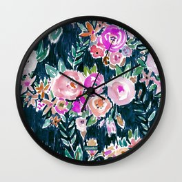 Midnight PROFUSION FLORAL Wall Clock