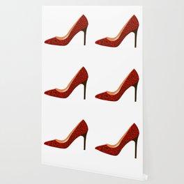 Red Leopard Print High Heel Shoe Wallpaper