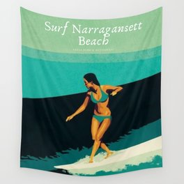 Surf Narragansett Beach, Rhode Island Vintage Surfing Big Swell Poster - New England Surfers Wall Tapestry